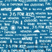 J is for Jeep - Blue Colorway Jeep Words Blue Yardage