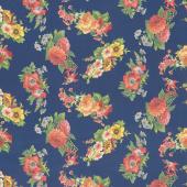 Flea Market Mix - Floral Navy Yardage
