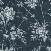 Holly Woods - Floral Toile Midight Yardage
