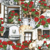 Cats - Cats and Geraniums Porch Yardage
