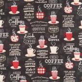 Coffee Time - Large Allover Black Yardage
