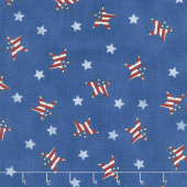 Land That I Love - Tossed Flag Stars Brave Blue Yardage