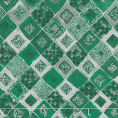 Gustav Klimt - Squares Diamonds Emerald Metallic Yardage