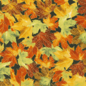 Giving Thanks - Leaves Black Metallic Yardage
