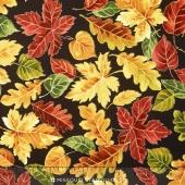 Autumn Bounty - Autumn Leaves Black Metallic Yardage