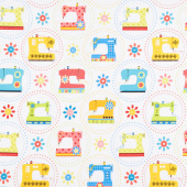Sew Excited - Sewing Machine Fun White Yardage
