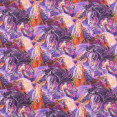 Painted Horses - Purple Multi Yardage