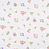 Scented Garden - Floral Polka Dot Light Gray Digitally Printed Yardage