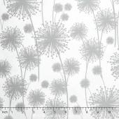 Nature's Pearl - Dandelion Shadow White Pearlized Yardage