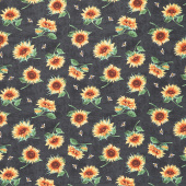 Sundance Meadow - Tossed Sunflowers Black Yardage