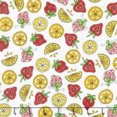 Lil' Sprout Too! - Strawberries n' Lemons White Flannel Yardage