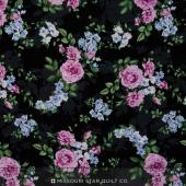 Beverly Park - Purple Flowers on Black Yardage