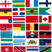Our World - World Flag White Yardage