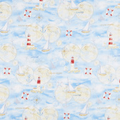 Harbor Lights - Large Allover Blue Yardage