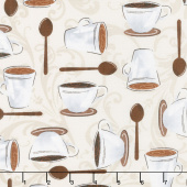Dark Roast - Cups on Scroll Latte Yardage