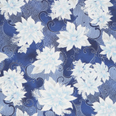 Holiday Flourish 12 - Peacock Poinsettia Navy Metallic Yardage