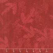 Merry & Bright - Tonal Pine Branch Red Yardage