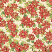 Poinsettias and Pine Metallic - Poinsettias Cream Yardage