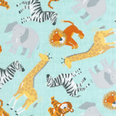 Animals - Tossed Jungle Animals Blue Yardage