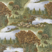 Return to Cub Lake - Cub Lake Scenic Chestnut Flannel Yardage