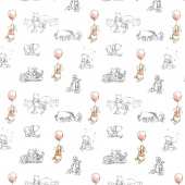 Disney - Pooh Nursery Sketch White Yardage