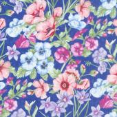 Papillon Parade - Large Floral Dark Blue Yardage