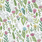 Catnip - Flower Cats White Yardage