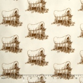 Little House on the Prairie - Scenic & Icons Wilder Wagon Brown Yardage