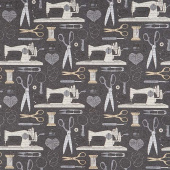 Material Girl - Sewing Notions Charcoal Multi Yardage