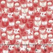 Woof Woof Meow - Here Kitty Kitty Pink Yardage
