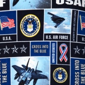 Fleece Licensed - Military Air Force Blue Yardage
