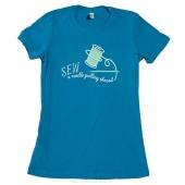 Needle Pulling Thread Medium Women's Youth Fit Crew Neck T-Shirt - Aqua