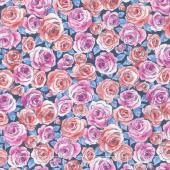 Top Drawer - Roses Blue Yardage