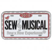 2018 Row by Row Sew Musical Souvenir License Plate Pin