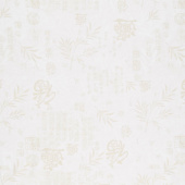 Peony Dance - Japanese Writing Cream Digitally Printed Yardage