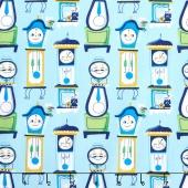 Nursery Rhymes - Clocks Light Blue Yardage
