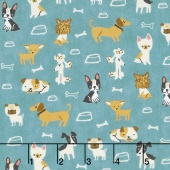Woof Woof Meow - Small But Mighty Turquoise Yardage