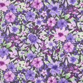 Amethyst Magic - Large Floral Black Yardage