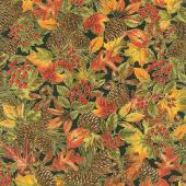 Gather Here - Packed Harvest Foliage Multi Metallic Yardage
