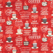 Coffee Time - Large Allover Red Yardage