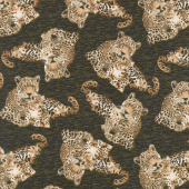 On the Wild Side - Tossed Leopards Brown Yardage