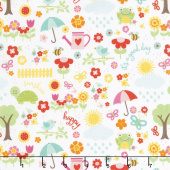 Bloom Where You're Planted - April Showers White Yardage