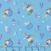 Disney Olaf's Frozen Adventure - Olaf & Sven in Teal Yardage
