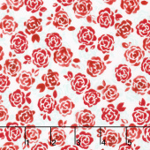 Sugar Berry - Playful Posies Radiant Crystal with Red Glitter Yardage