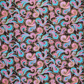 Believe in Unicorns - Fractal Allover Black Metallic Yardage