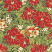 Cardinal Song Metallic - Poinsettia & Pine Ebony Yardage