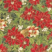 Cardinal Song Metallic - Poinsettia & Pine Ebony Yardage