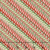 Santa's Big Night - Candy Cane Stripe Red/Green Yardage