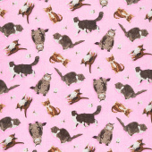 Meadow Meow - Cats Pink Yardage