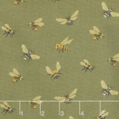 Bee a Keeper - Allover Bees Olive Green Yardage